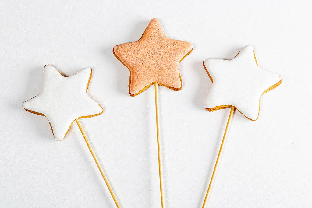 Gingerbread stars on white background