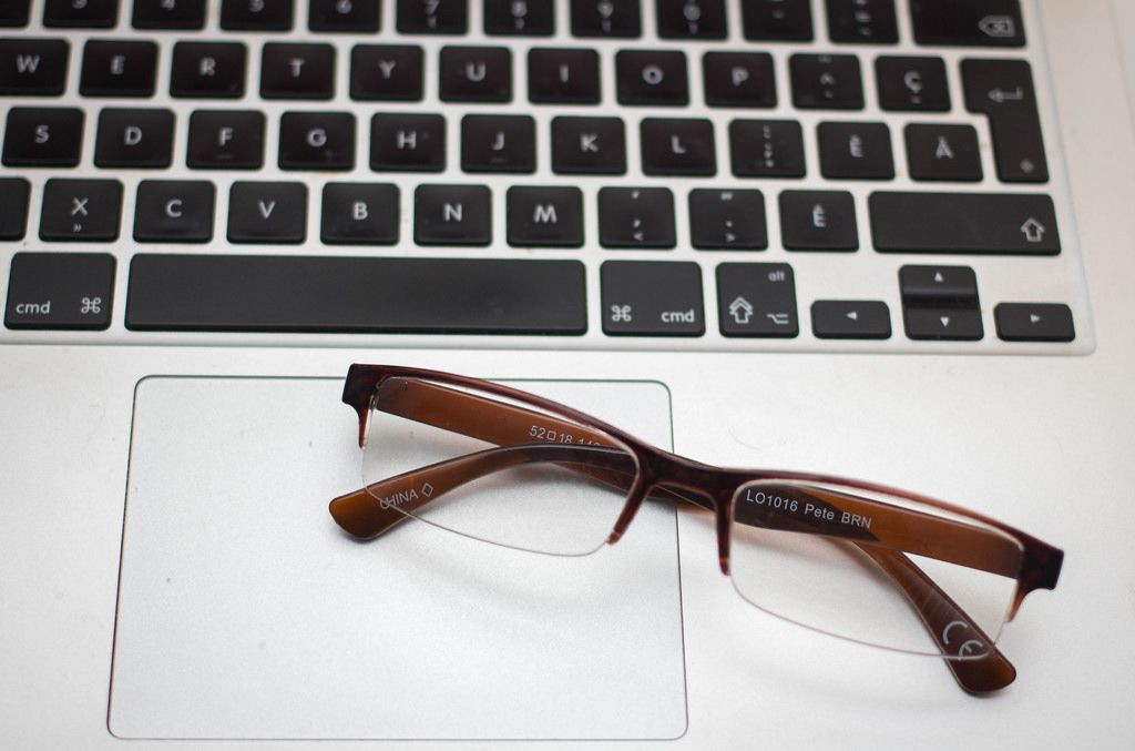 Glasses on a Laptop Close-Up