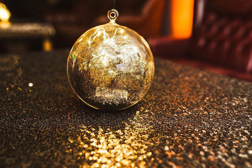 Glitter Golden Decor Ball On The Table