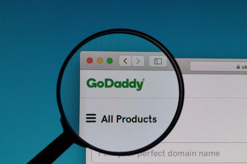 GoDaddy logo under magnifying glass