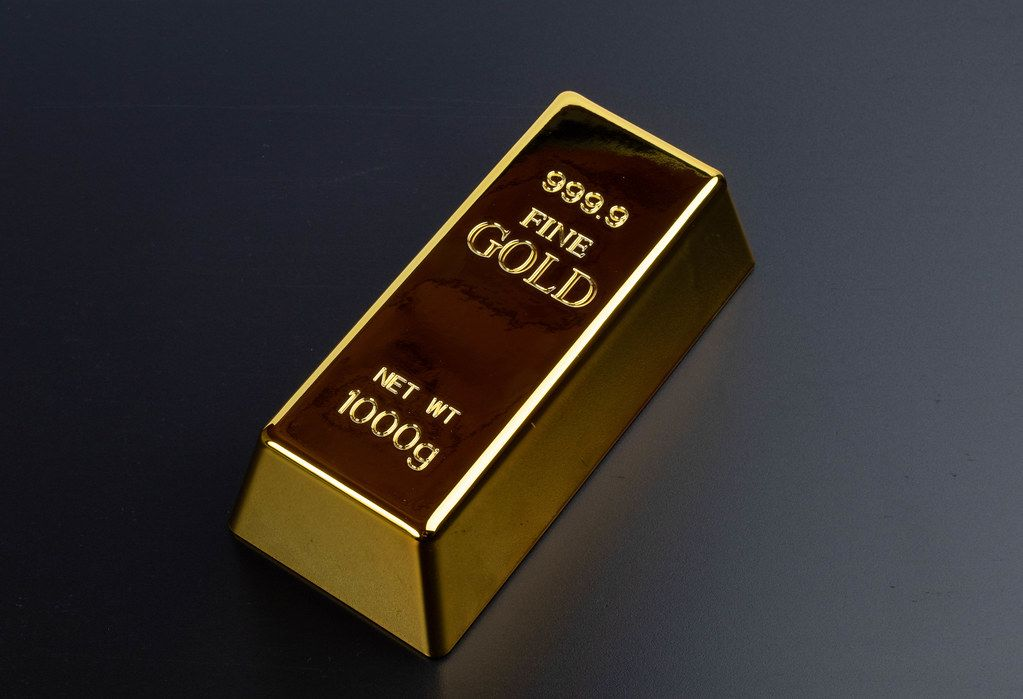 Gold bar on a black background