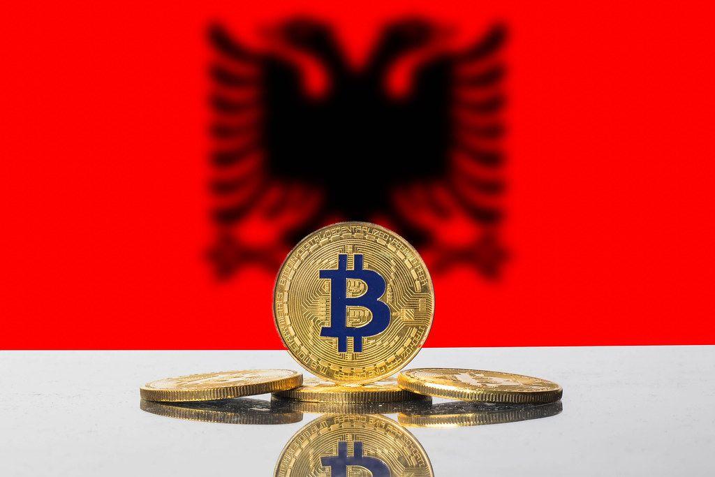 Golden Bitcoin and flag of Albania