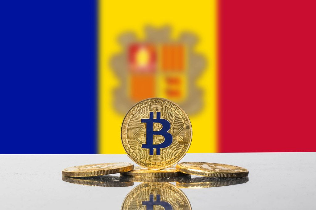 Golden Bitcoin and flag of Andora