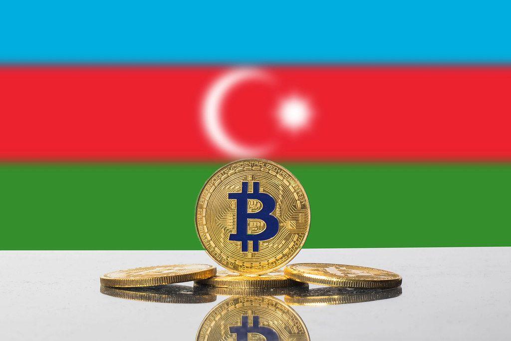 Golden Bitcoin and flag of Azerbaijan