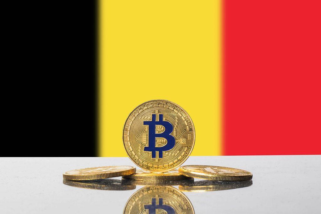 Golden Bitcoin and flag of Belgium