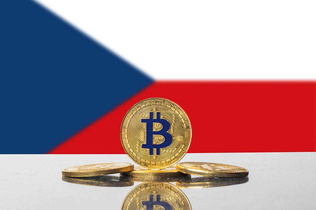 Golden Bitcoin and flag of Czech Republic
