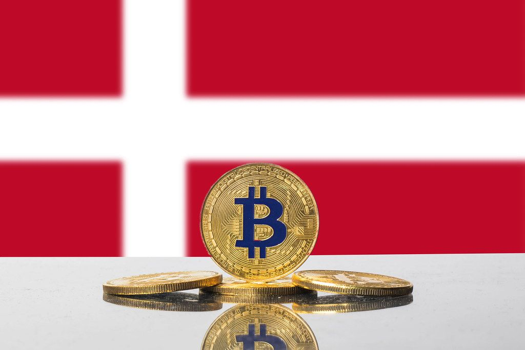 Golden Bitcoin and flag of Denmark