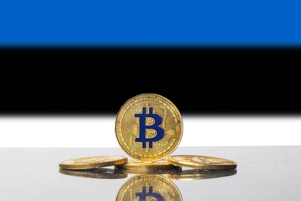 Golden Bitcoin and flag of Estonia
