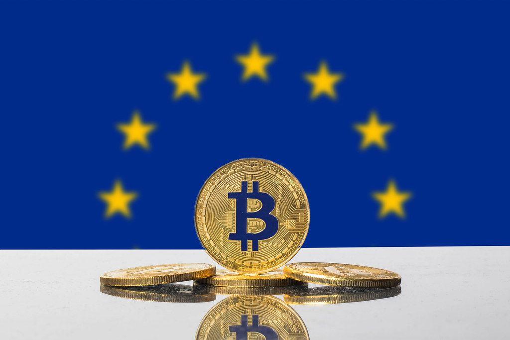 Golden Bitcoin and flag of EU