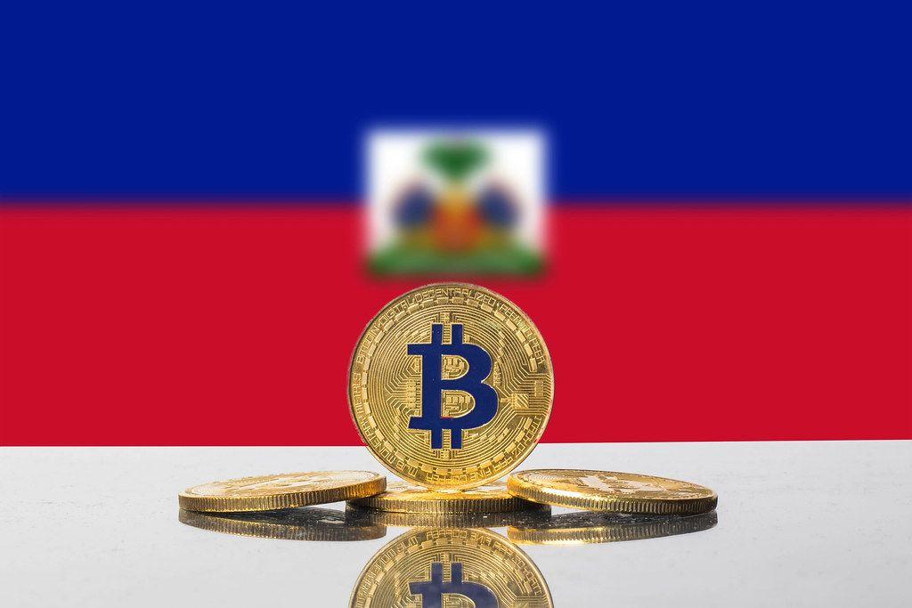 Golden Bitcoin and flag of Haiti