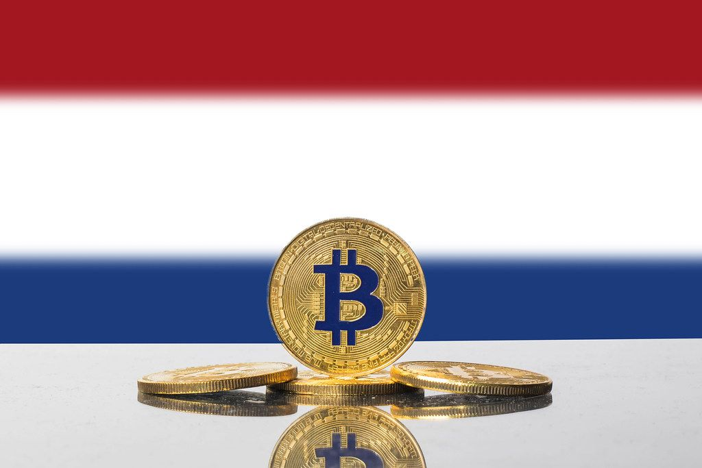 Golden Bitcoin and flag of Netherlands