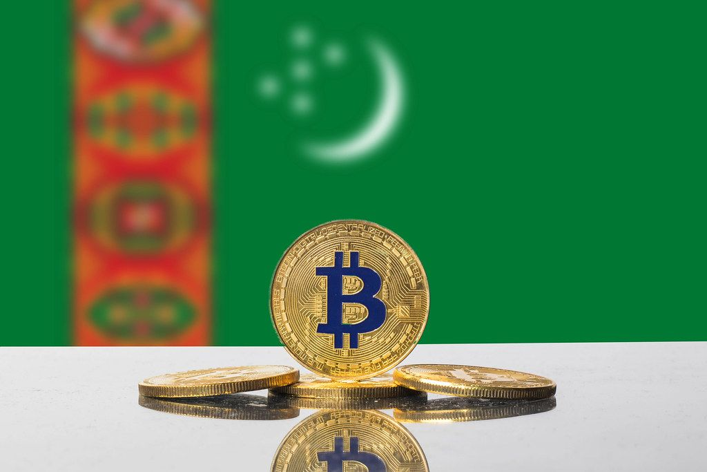 Golden Bitcoin and flag of Turkmenistan