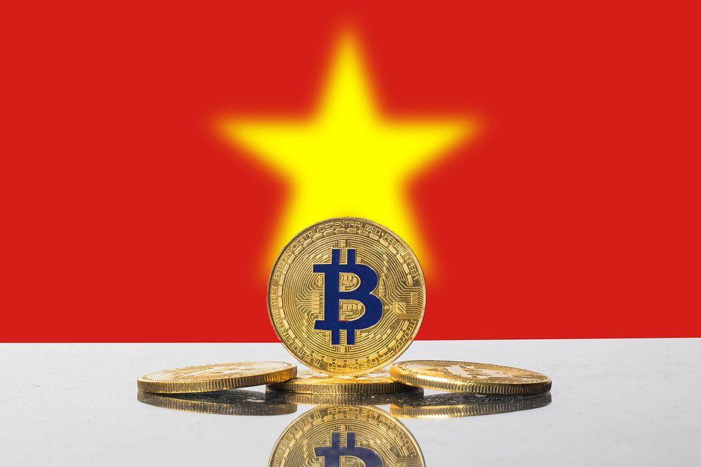 Golden Bitcoin and flag of Vietnam