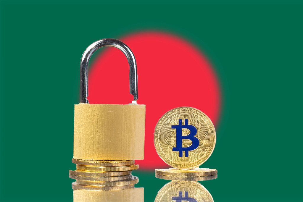 Golden Bitcoin, padlock and flag of Bangladesh