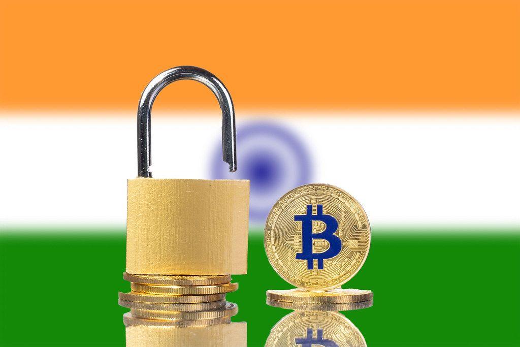 Golden Bitcoin, padlock and flag of India