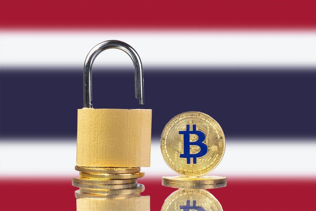 Golden Bitcoin, padlock and flag of Thailand