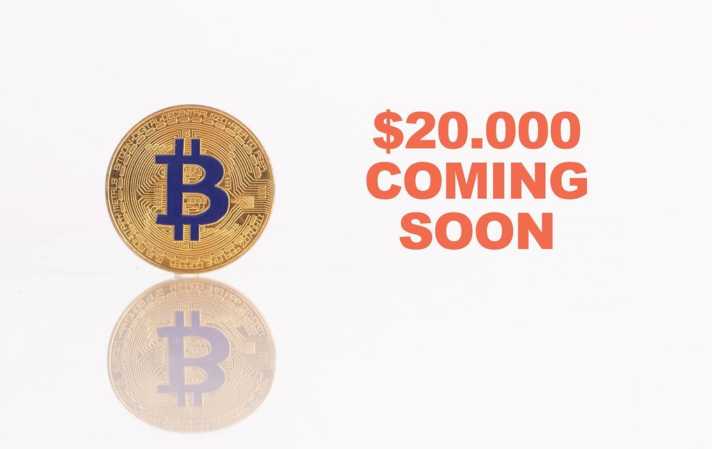 Golden Bitcoin with text $20.000 coming soon