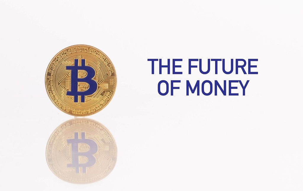 Golden Bitcoin with The  future of money text