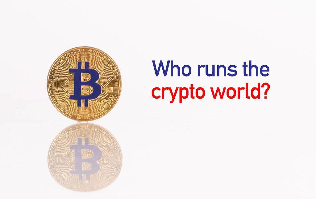 Golden Bitcoin with Who runs the crypto world text