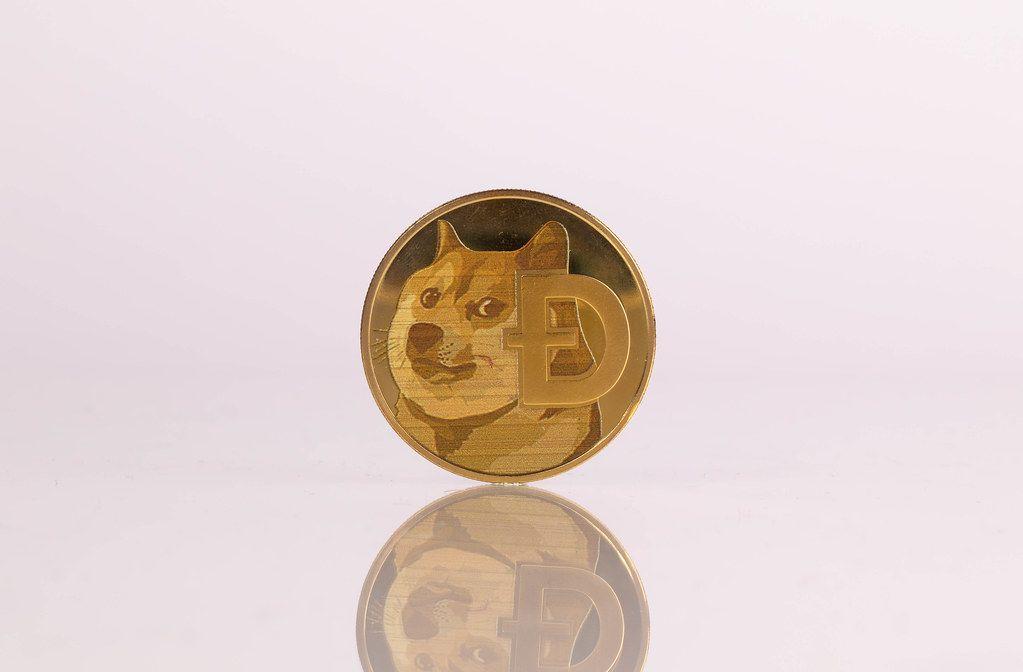 Golden Dogecoin on white background