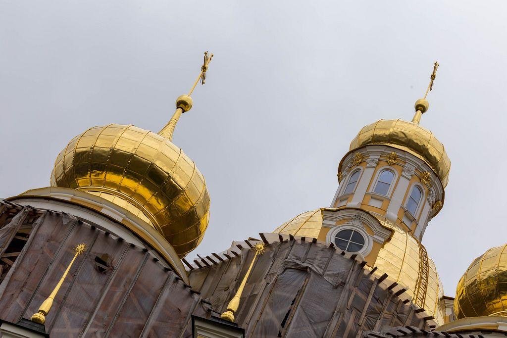 Golden domes of Vladimirskaya Church in Saint Petersburg