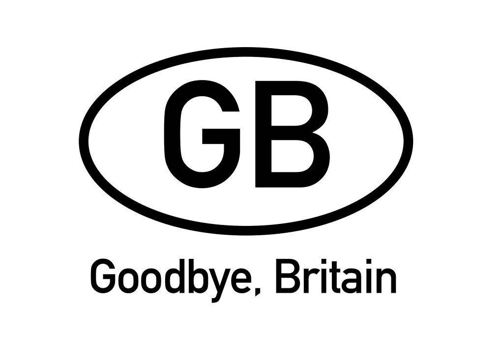 Goodbye Britain text on white