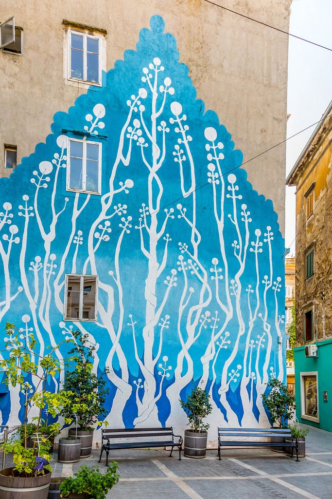 Graffiti on the wall - trees on old building