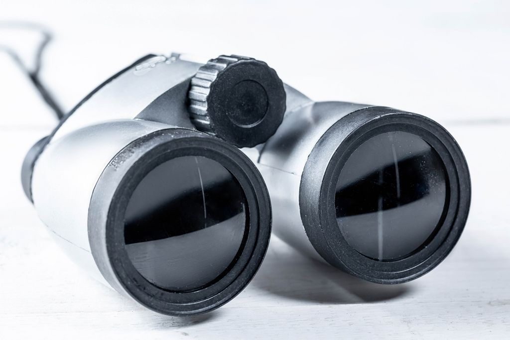 Gray binoculars close-up on white background