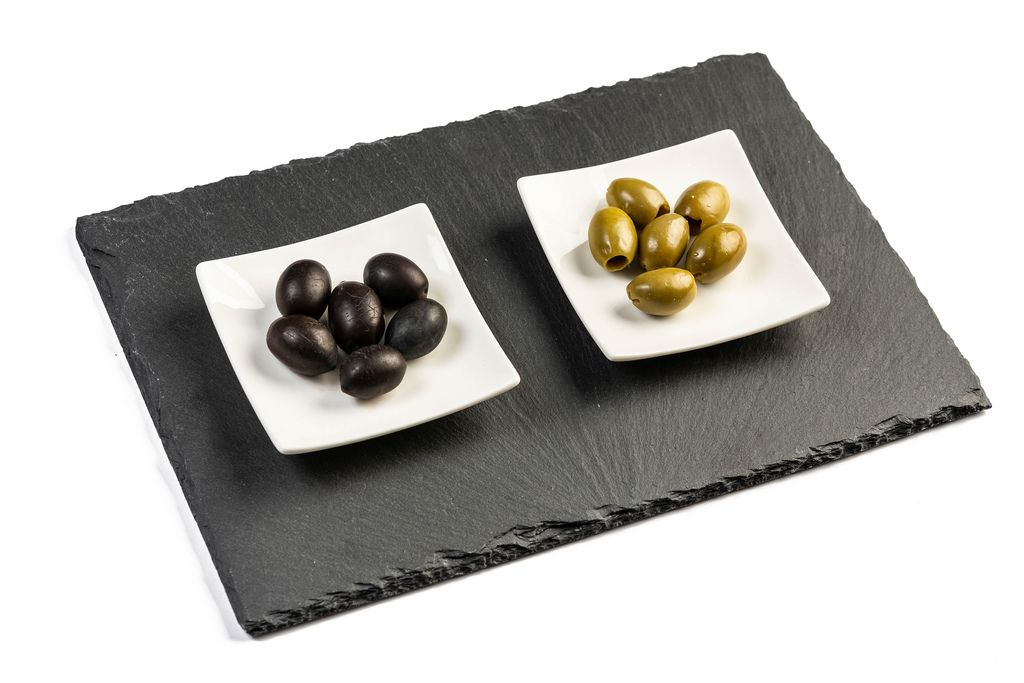 Green and Black Olives on the black tray