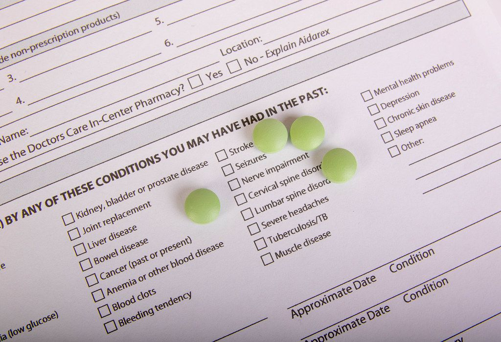 Green pills on Medical History Form