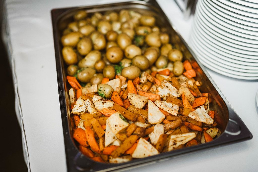 Grilled Carrots, Potatoes And Selery On The Evening Table