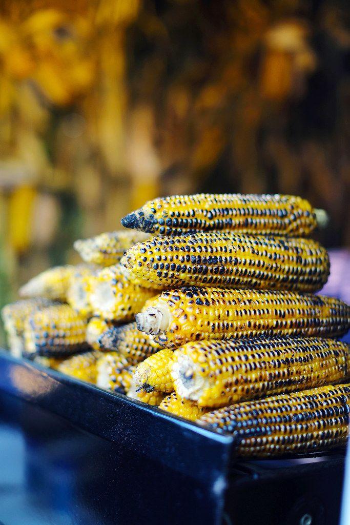 Grilled corns, street food fair
