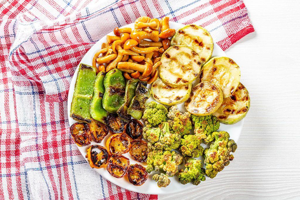 Grilled vegetables and pickled mushrooms