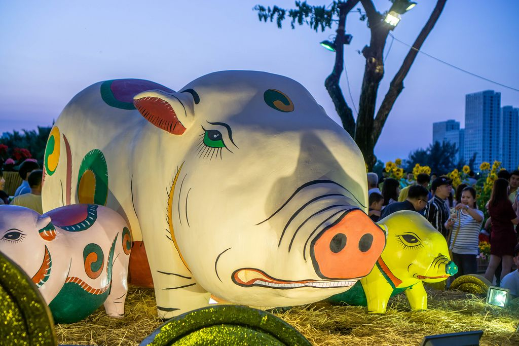 Grumpy Pig Decoration at the Flower Street in Ho Chi Minh City