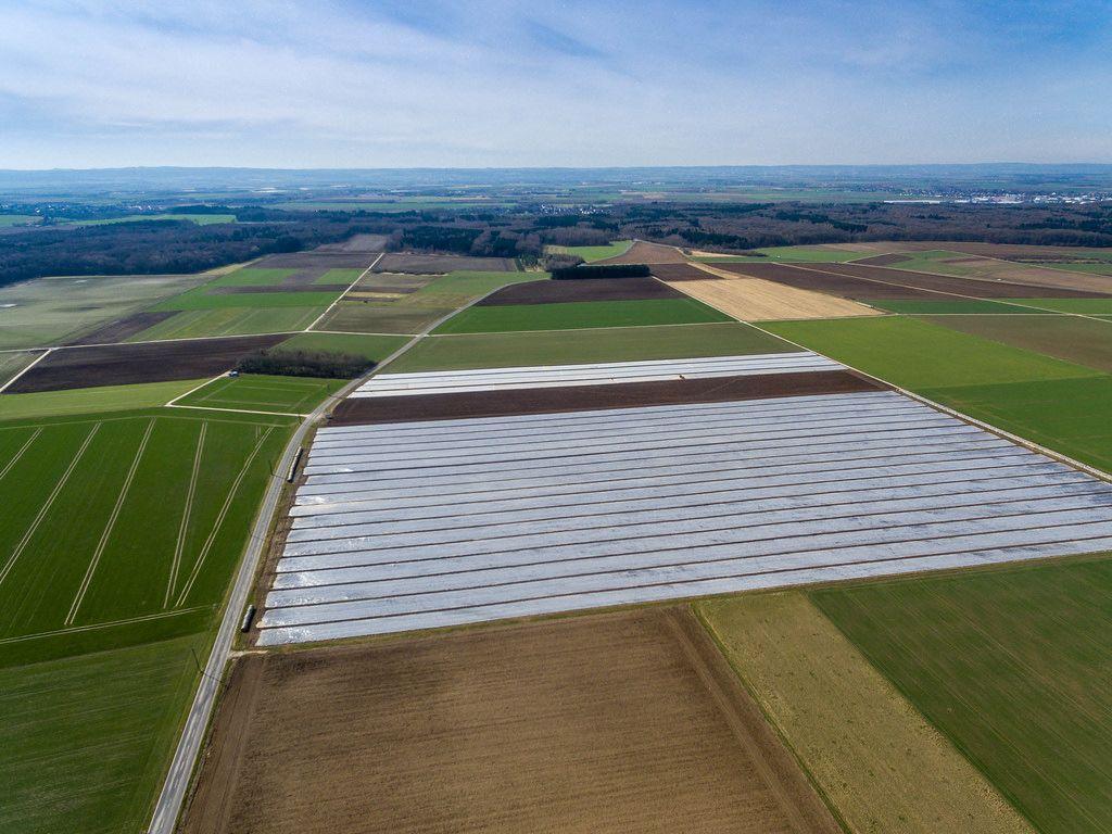 Grüne Felder und ein Feld unter Folie - Luftbild