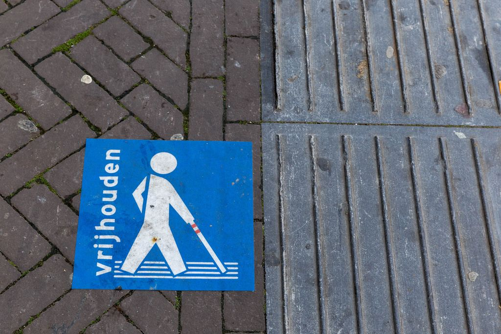 Guidelines for blind people on the sidewalk in Venlo, Netherlands