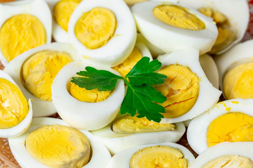 Halves of boiled eggs