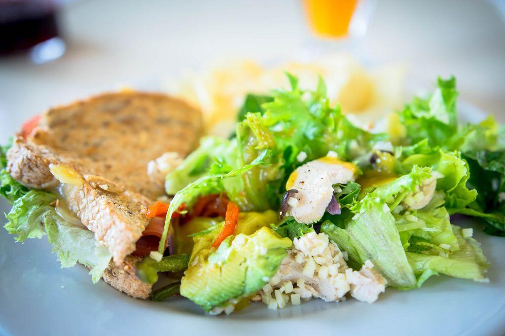 Ham sandwich and healthy chicken salad