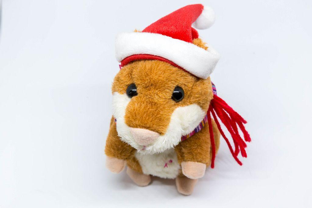 Hamster doll clad like Santa Claus