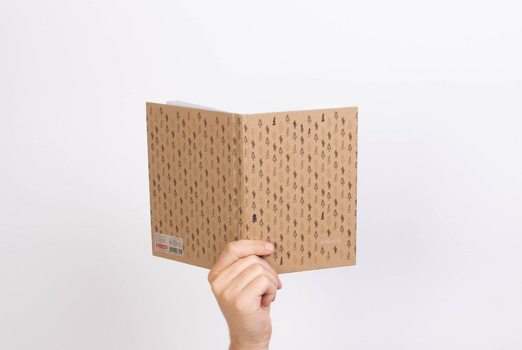 Hand hält ein Notizbuch vor weißem Hintergrund, im Naturlook