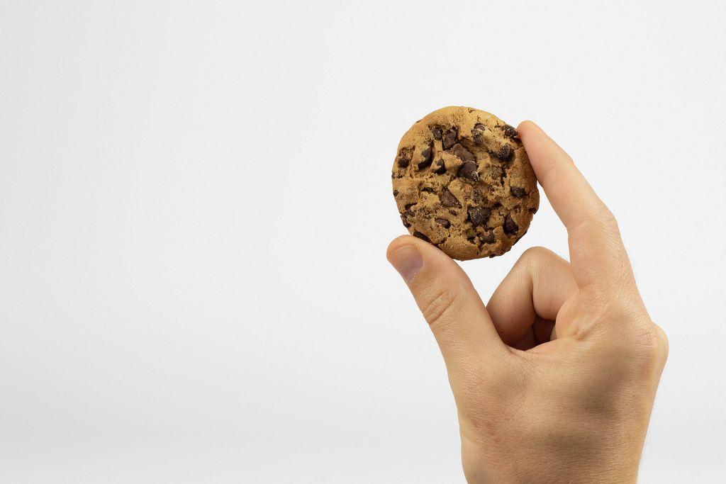 Hand hält Keks mit Schokoladensplittern vor weißem Hintergrund