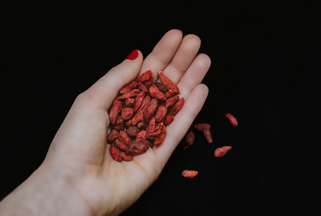 hand holding dried goji berries isolated on black background in studio