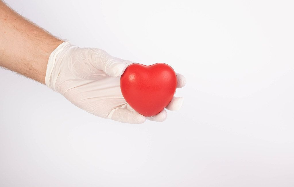 Hand with gloves holding red heart