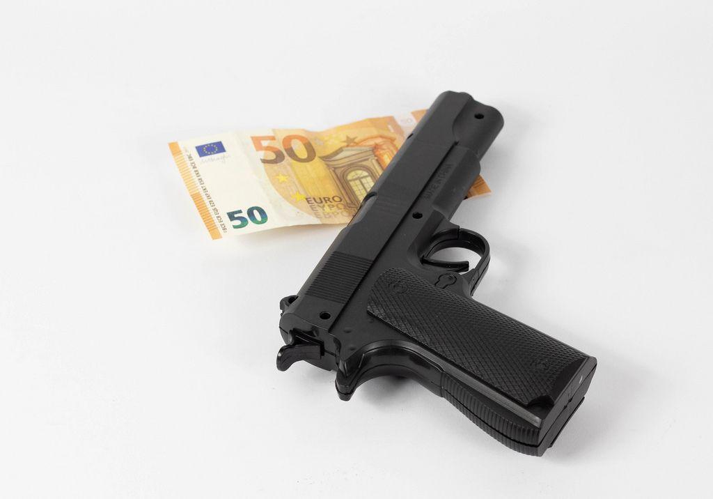 Handgun and money
