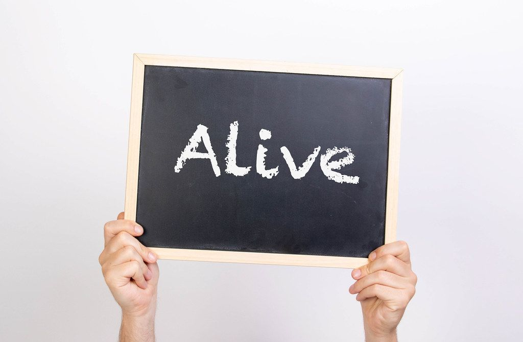 Hands holding blackboard with text Alive