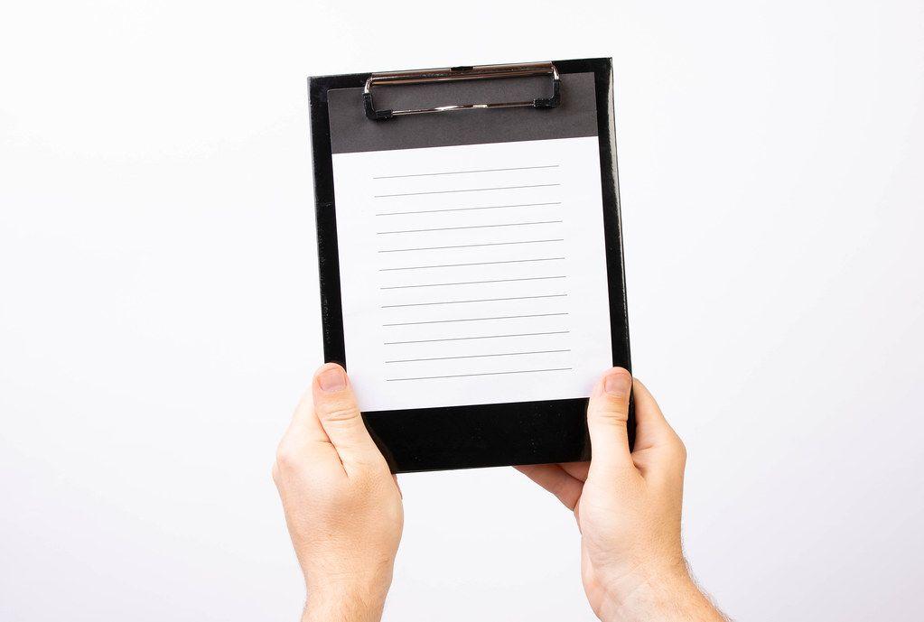Hands showing blank paper (Flip 2019)