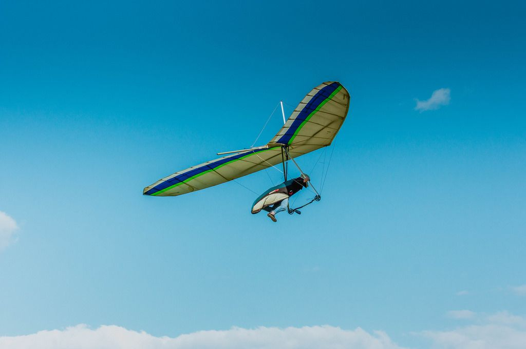 Hang glider preparing for landing
