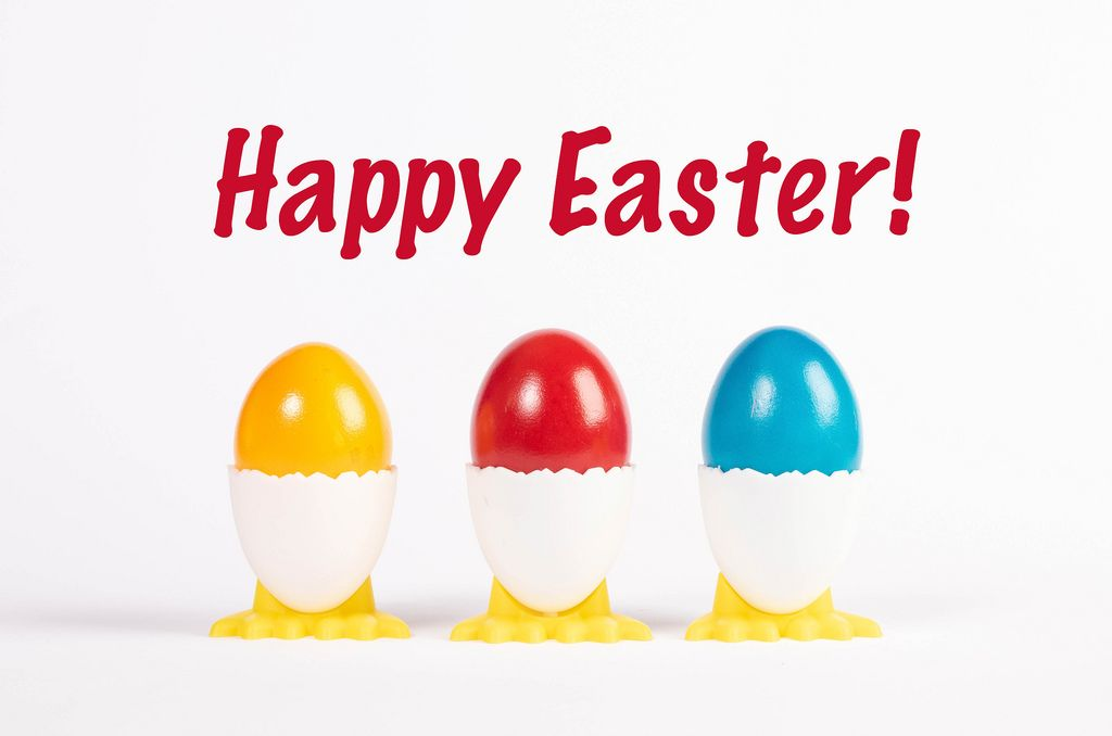 Happy Easter text with painted Easter eggs