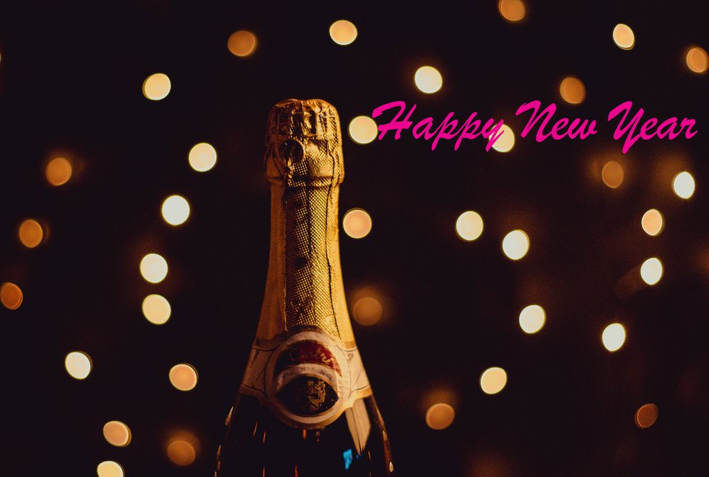 Happy New Year with champagne bottle