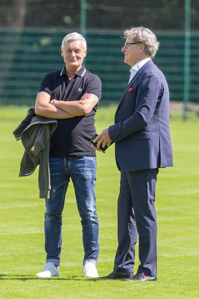 Harald Schumacher und Armin Veh bei guter Laune